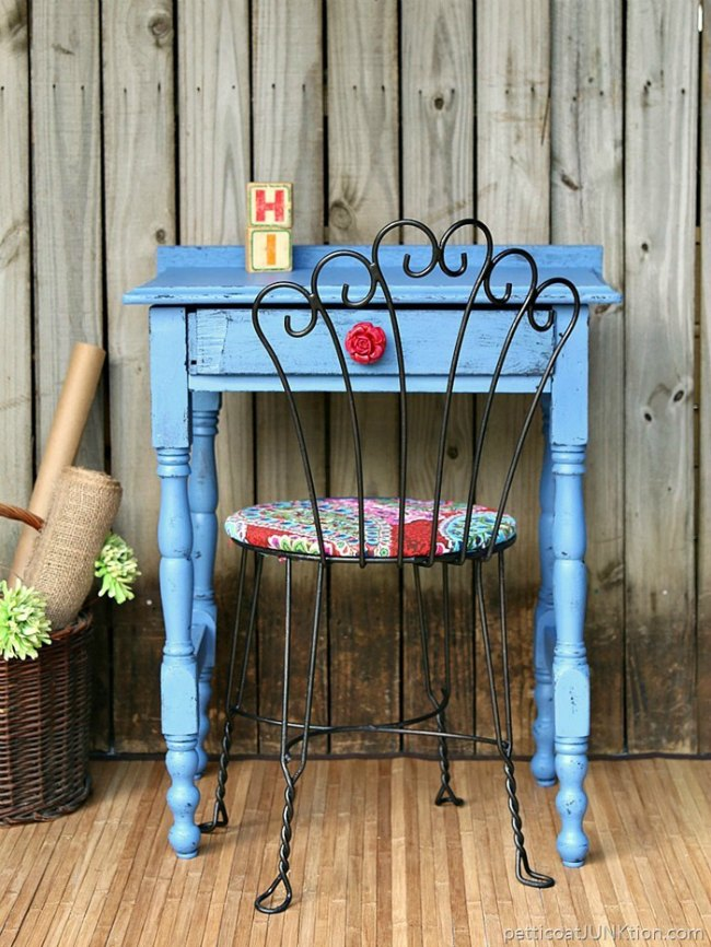 upcycled blue accent table