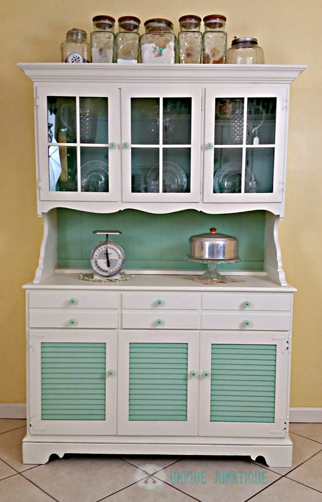 Jadeite farmhouse kitchen hutch makeover