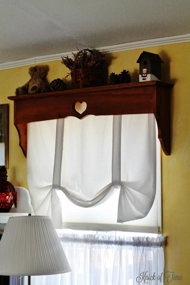 living room wooden window shelves