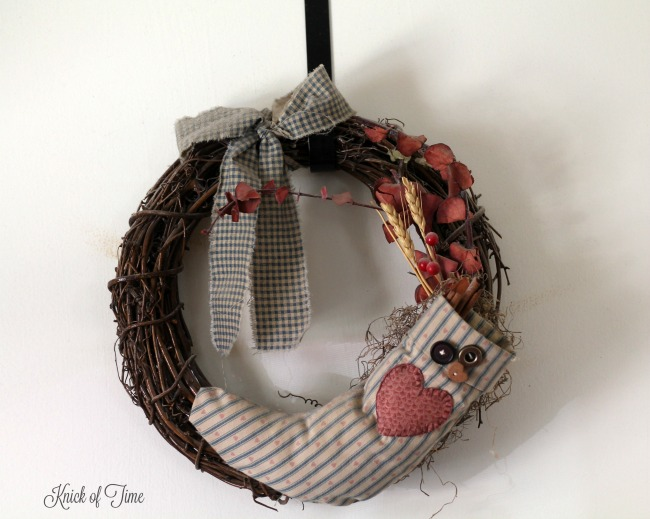 homemade gifts grapevine wreath with homespun stocking