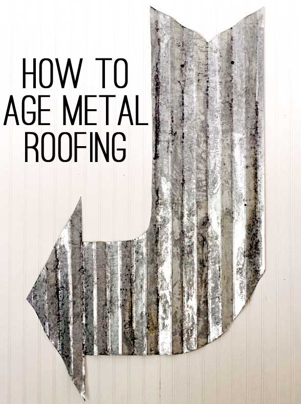 how to age corrugaged metal roofing by The Shabby Creek Cottage