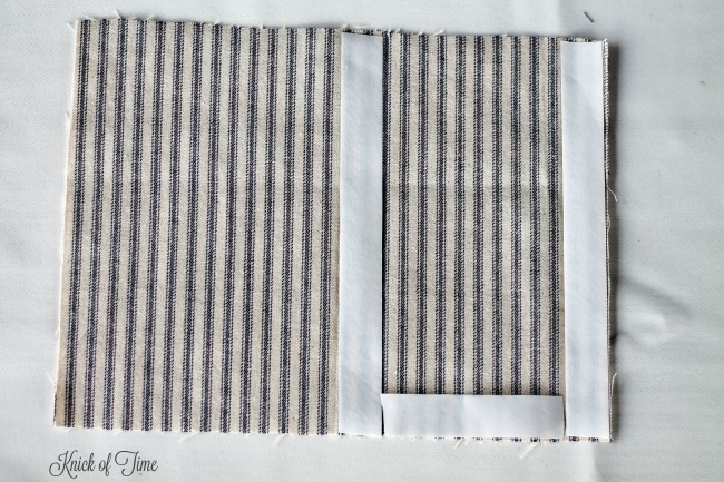 How to make a farmhouse style ticking wall pocket - www.knickoftime.net