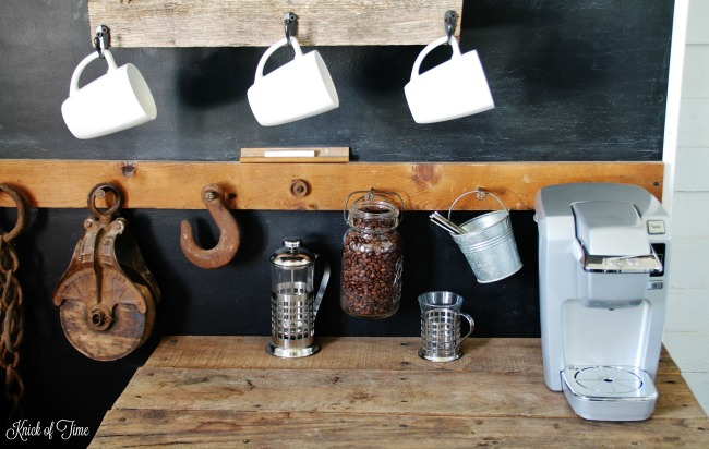 DIY Rustic Industrial Farmhouse Coffee Cups Wood Shelf Tutorial | www.knickoftime.net