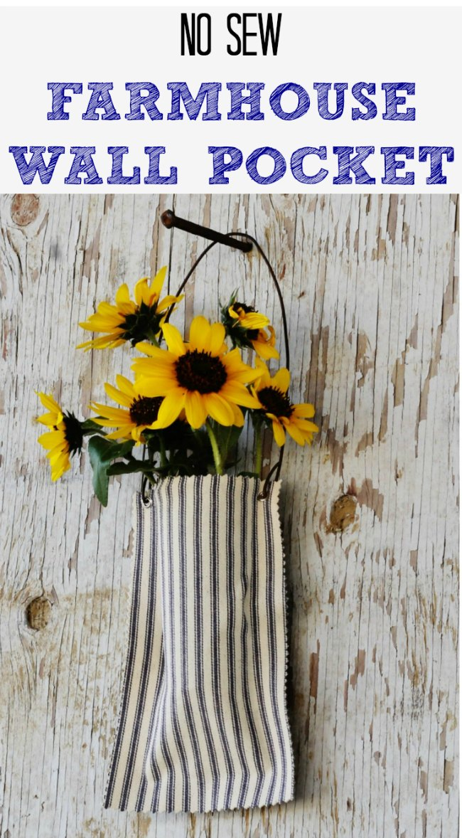 Make this easy DIY no-sew farmhouse style wall pocket in less than 30 minutes - www.knickoftime.net