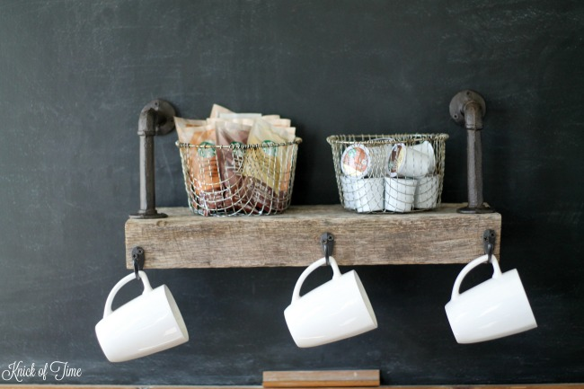 DIY Rustic Pipe Fittings Wood Shelf for Coffee Cups & Supplies   www.knickoftime.net