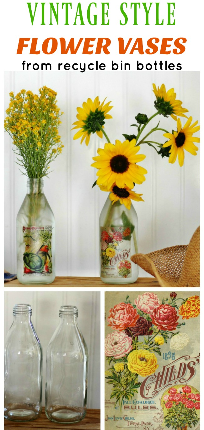 How to repurpose glass bottles into flower vases for DIY handmade gifts - www.knickoftime.net