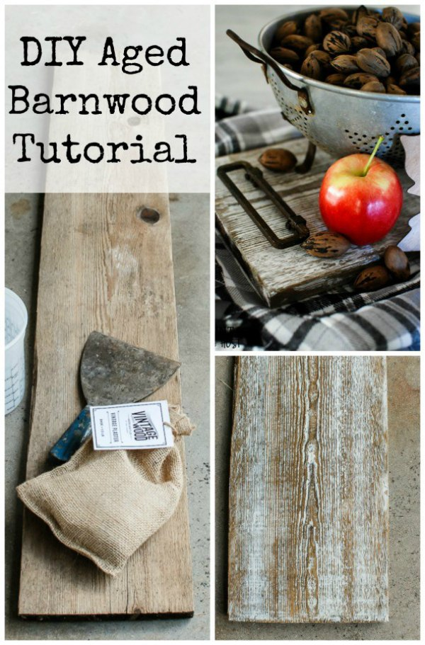 DIY weathered barn wood tutorial feature at Talk of the Town