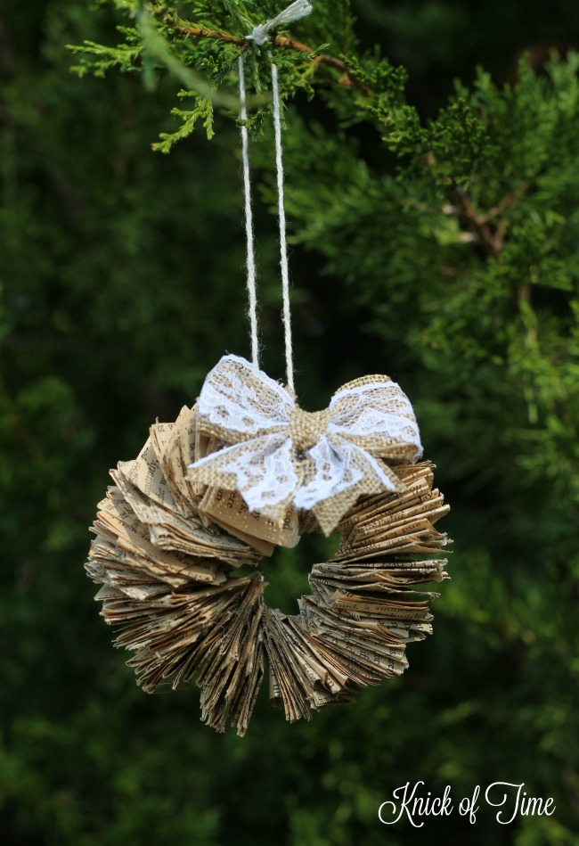 Book Page Wreath DIY Handmade Christmas Ornament - www.knickoftime.net