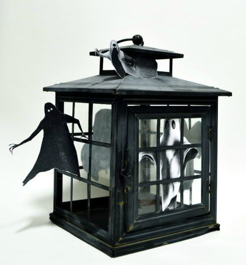 Create adorably cute spooky Halloween decor with a broken lantern featured at Talk of the Town at www.knickoftime.net