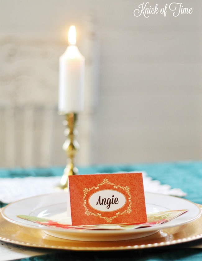 Free printable Thanksgiving place setting cards - www.knickoftime.net