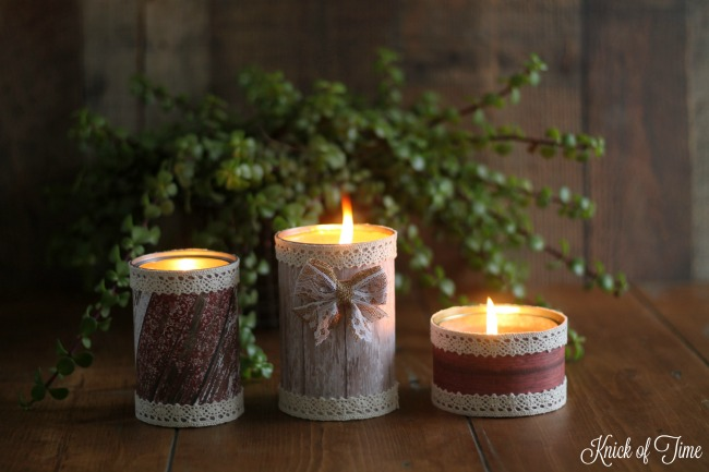 Create beautiful handmade candles that have the rustic look of barn wood. Tutorial at Knick of Time - www.knickoftime.net