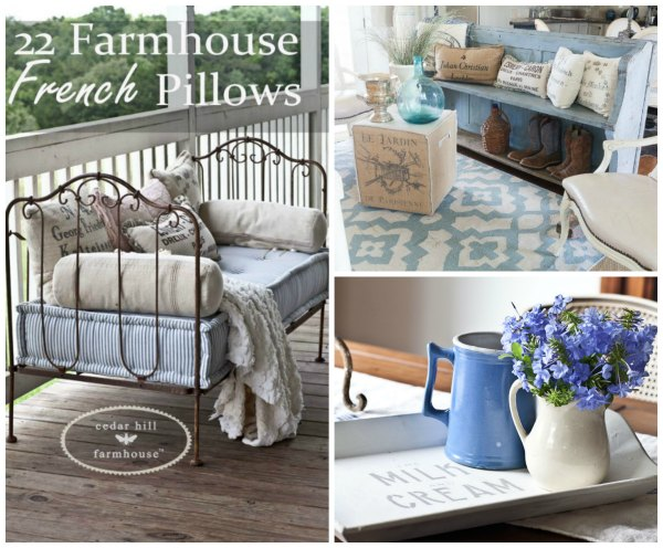 farmhhouse french pillows, painted antique church pew and stenciled farmhouse tray by Cedar Hill Farmhouse - featured blogger at Talk of the Town