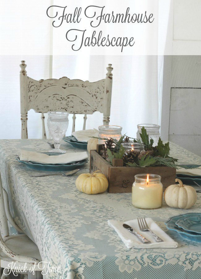 Fall Farmhouse Table Setting in non-traditional fall colors - www.knickoftime.net