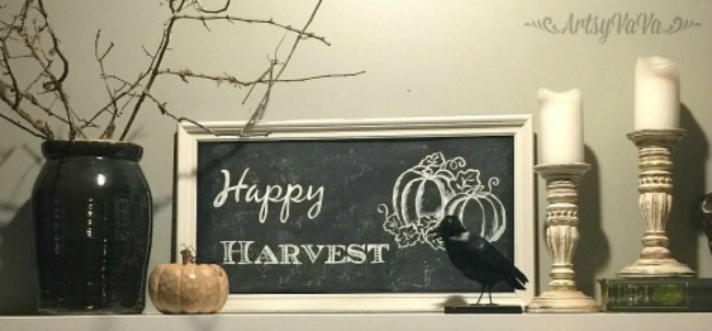 Turn a thrift store framed print into an easy autumn faux chalkboard featured at Talk of the Town at www.knickoftime.net