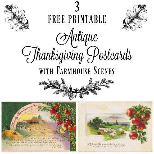 Free Thanksgiving Printables | 1900's Antique Postcards with Pastoral Farmhouse Illustrations - www.knickoftime.net