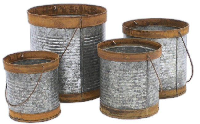 Hanging Galvanized Containers with Rusted Edges for Home Decor