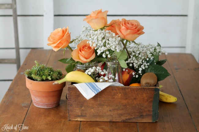 How to make an vintage style fresh fruit and flowers table centerpiece - www.knickoftime.net