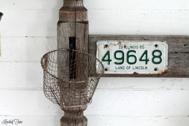 Rusty Junk Coat Rack on a Repurposed Headboard - www.knickoftime.net