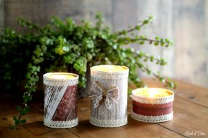 Handmade barn wood style candles in tin cans for home decor, gifts or barn weddings - KnickofTime.net