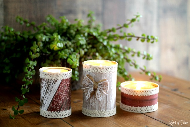 Turn empty tin cans into barn wood style candle holders that are incredibly easy to make. Perfect for an outdoor wedding, handmade gift or home decor - www.knickoftime.net