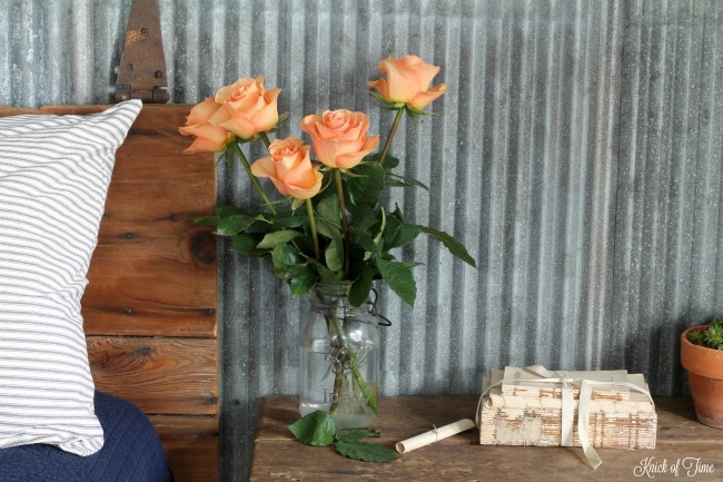 pale peach roses for company in the guest room - www.knickoftime.net