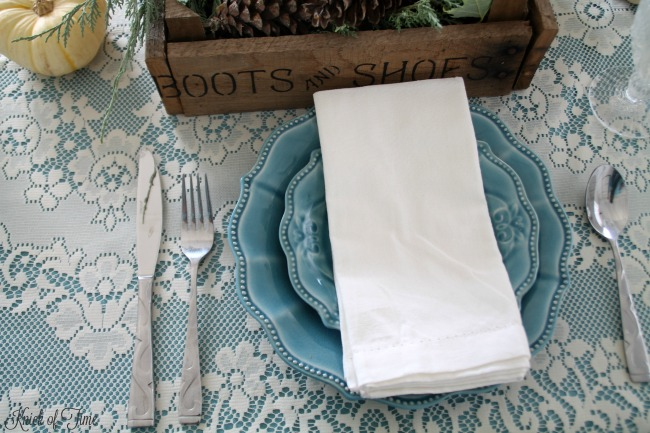 Farmhouse table setting with lace tablecloth and blue dinnerware - www.knickoftime.net