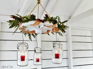 Magnolia Market style farmhouse Christmas wagon wheel mason jars candle chandelier - www.knickoftime.net