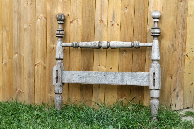 rustic wood antique headboard for repurposed coat rack - www.knickoftime.net