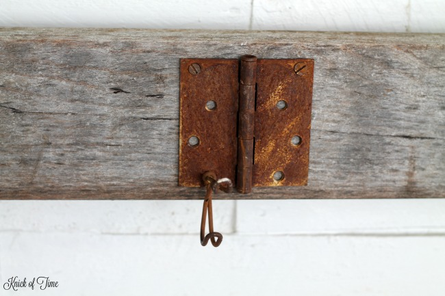 Rusty Junk Coat Rack on a Repurposed Headboard - www.knickoftime.net