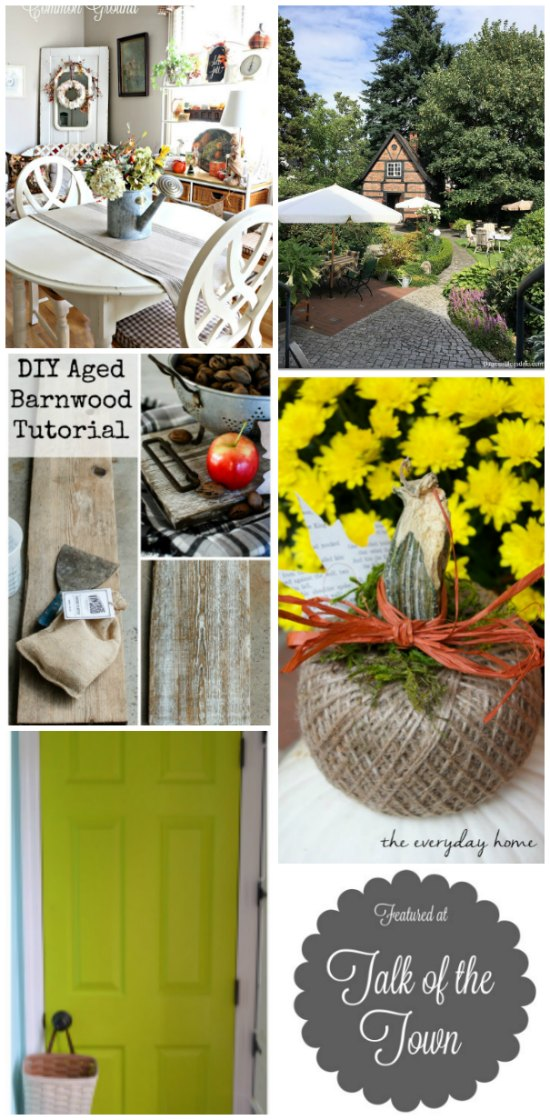 tiny house cottage cottage, garden, watering can table centerpiece, DIY barn wood tutorial, twine pumpkin and more features at Talk of the Town - www.knickoftime.net