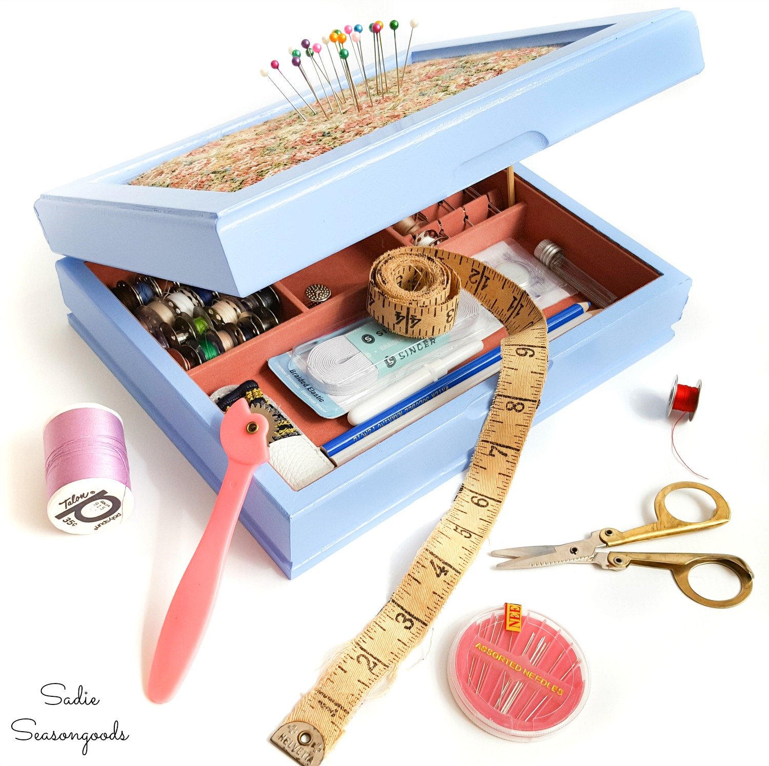 Upcycling a Vintage Jewelry Box as a Sewing Starter Kit