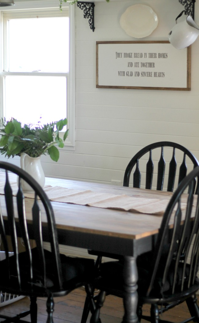 White Farmhouse Kitchen Black Table And Chairs