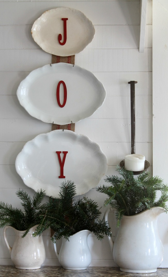 Farmhouse Christmas decorating with antiques and found nature evergreens - www.knickoftime.net