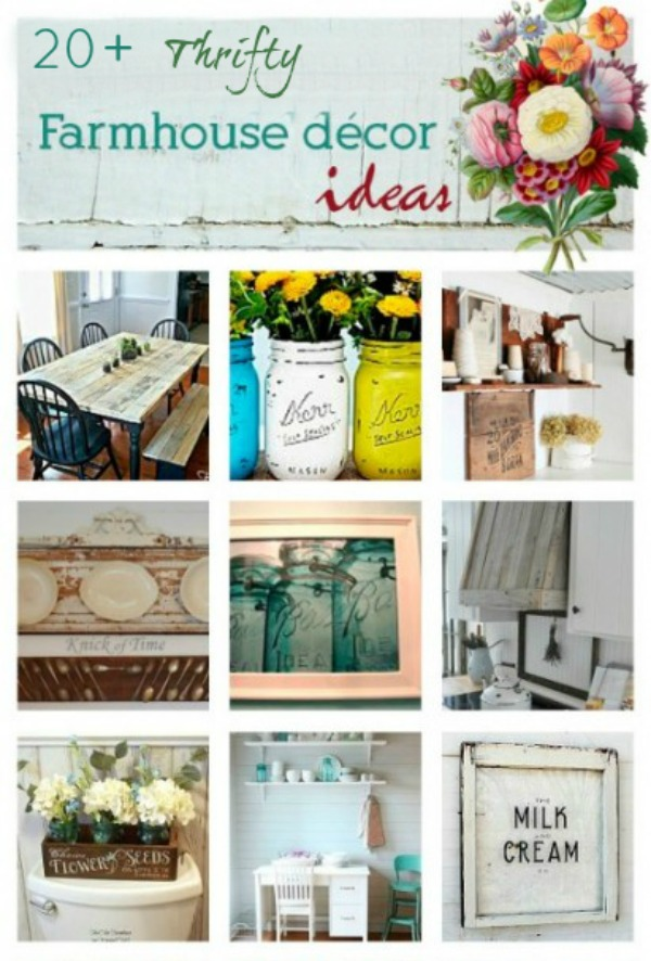 Thrifty DIYFarmhouse decor project ideas via www.knickoftime.net