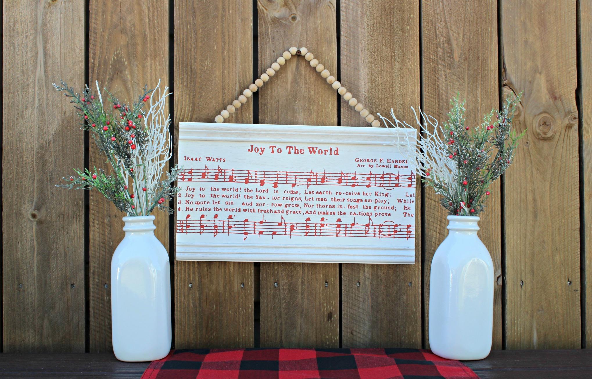 Joy to the World Hobby Lobby White Beveled Beaded Wood Wall Christmas Decor