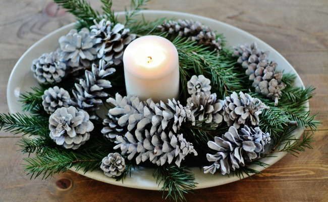 Antique Ironstone platter candle centerpiece | Evergreen and Antique Christmas Decor | www.knickoftime.net