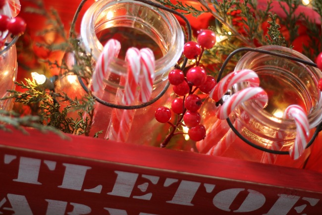 Glowing Mason Jars DIY Wood ChristmasTote with Knick of Time's Vintage Sign Stencils - www.knickoftime.net