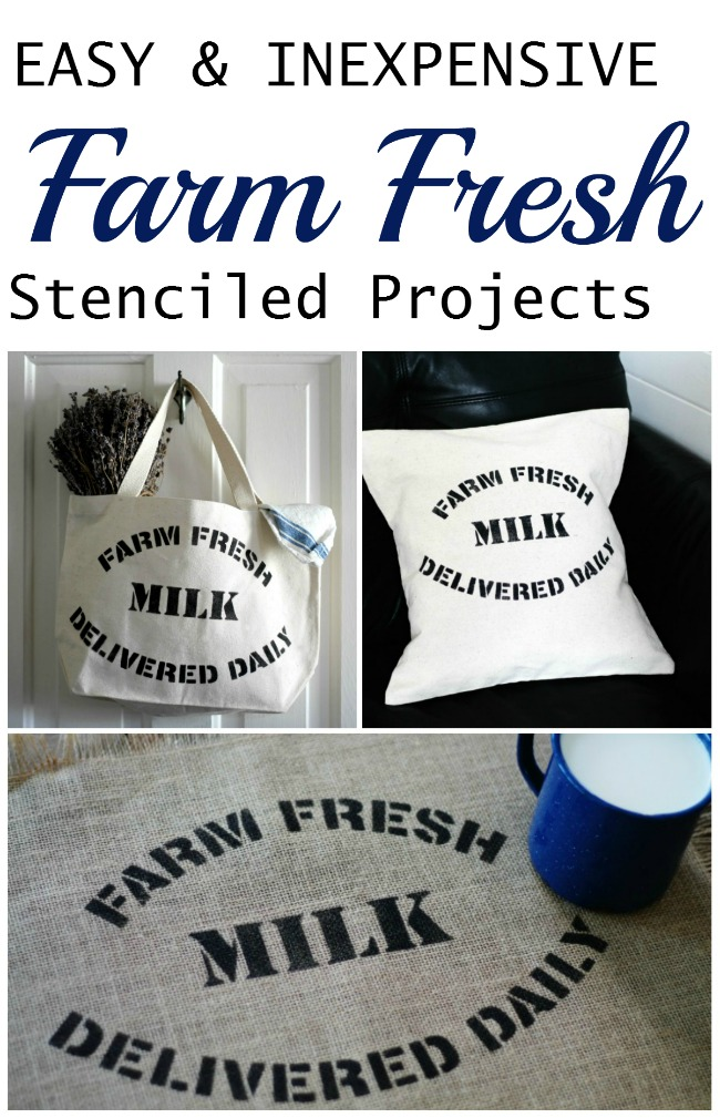 Create charming farmhouse decor in about 5 minutes using Knick of Time's Vintage Sign Stencils farm fresh designs | www.knickoftime.net