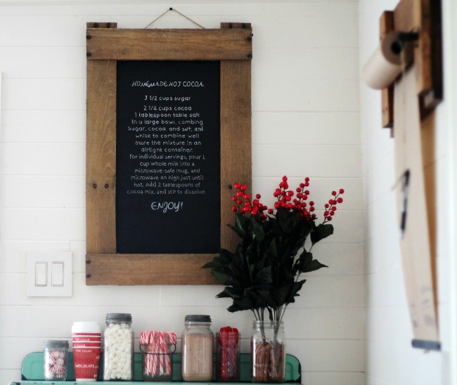Hot Chocolate Recipe on a DIY Rustic Pallet Chalkboard - www.knickoftime.net
