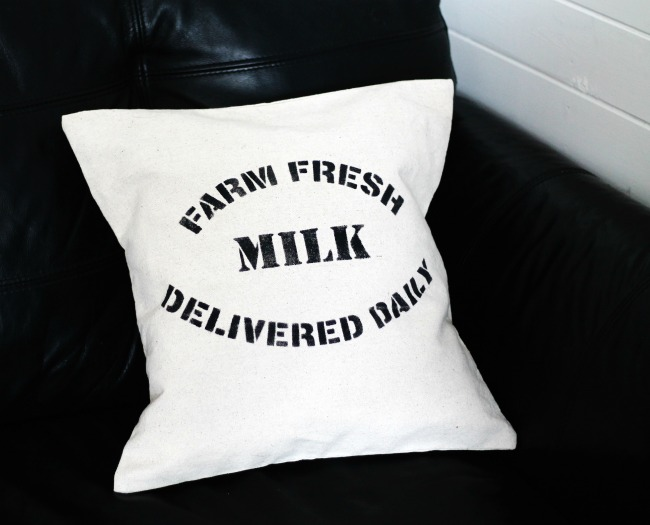farmhouse style farm fresh stenciled drop cloth canvas pillow/www.knickoftime.net