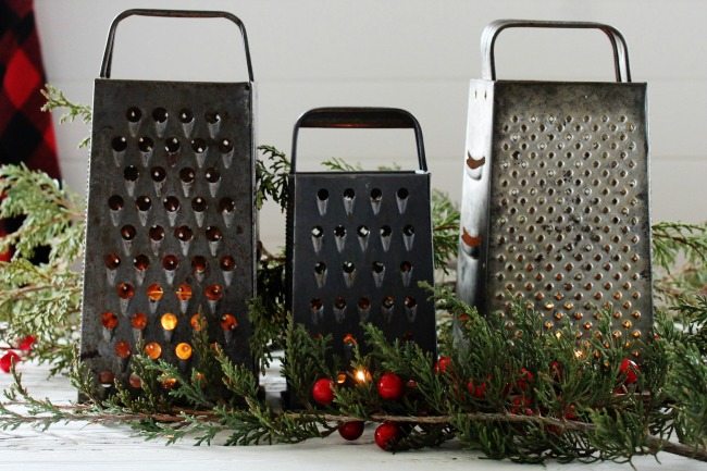 Create a simple Christmas candlelit centerpiece with repurposed vintage graters - www.knickoftime.net