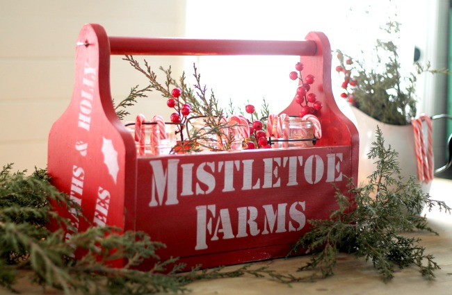 Glowing Mason Jars Luminaries | DIY Red ChristmasTote with Knick of Time's Vintage Sign Stencils via www.knickoftime.net