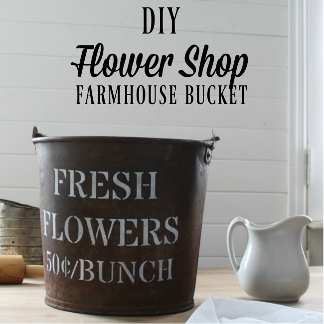 Turn a vintage metal bucket into a FLOWER SHOP inspired farmhouse style waste basket | knickoftime.net