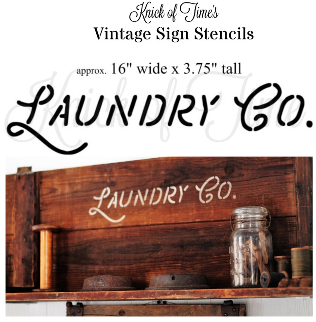 Farmhouse LAUNDRY CO. salvaged wood laundry room sign shelf Knick of Time's Vintage Sign Stencils | www.knickoftime.net
