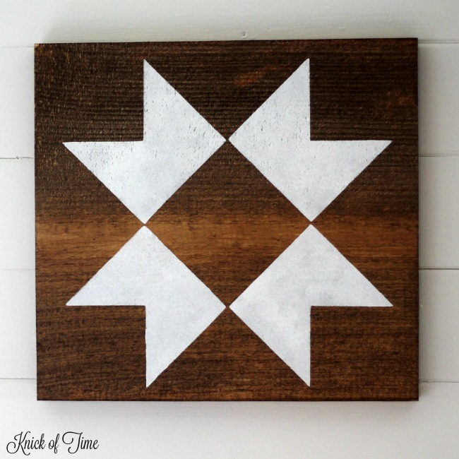 How to Make Farmhouse Barn Quilt Block Wall Hangings with Knick of Time's Vintage Sign Stencils   www.knickoftime.net