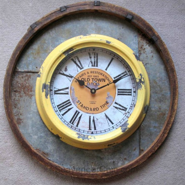repurposed barrel hoop wall clock  featured at Talk of the Town | www.knickoftime.net