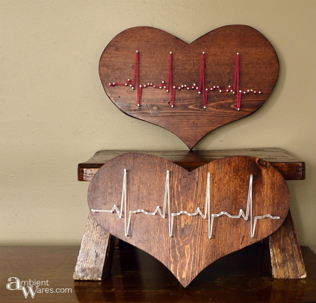DIY string art on wooden hearts featured at Talk of the Town | www.knickoftime.net