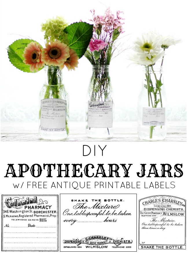 DIY Vintage Style Apothecary Bottles for Spring Flowers \ www.knickoftime.net