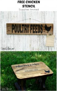 Get a free farmhouse chicken stencil with the purchase of Knick of Time's Feed Bag stencil. | www.knickoftime.net
