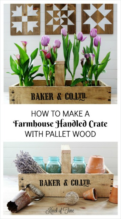 How to build a farmhouse rustic handled crate using pallet wood and Knick of Time's Vintage Sign Stencils | www.knickoftime.net